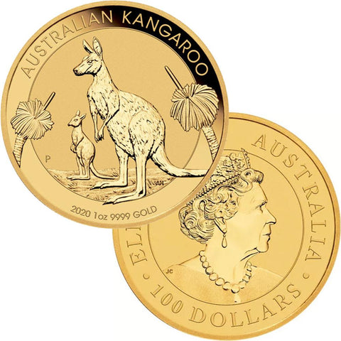 2020-P Australia $100 1 oz .9999 Gold Kangaroo - Gem Uncirculated in Mint Plastic