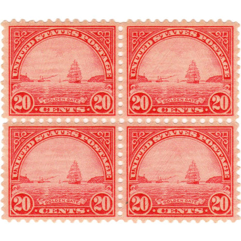 "Block of Four United States 20 Cent ""Golden Gate"" Scott #698 Stamps - V.F. O.G. N.H."