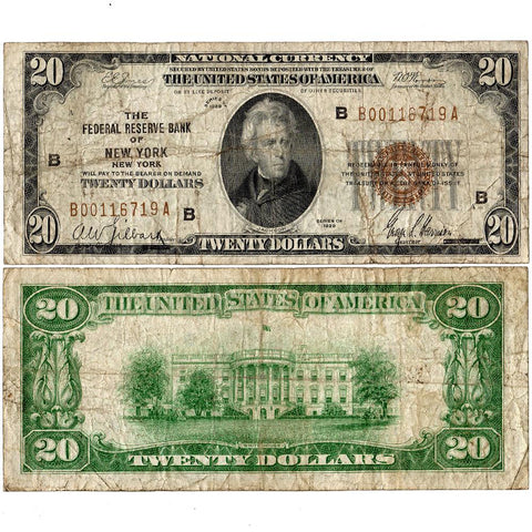 1929 $20 Federal Reserve National Bank Note, New York Fr. 1870-B - Very Good