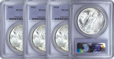 1922,1923,1924 & 1925 Peace Dollar Set in PCGS MS 64