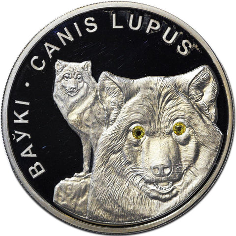 "2007 Belarus 20 Roubles ""Canis Lupus"" Silver Proof Coin w/ Swarovski Crystal Eyes"