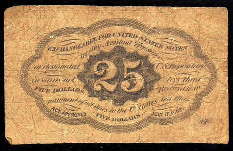 (1862-1863) 1st Issue 25¢ Fractional Fr. 1281 ~ Very Good
