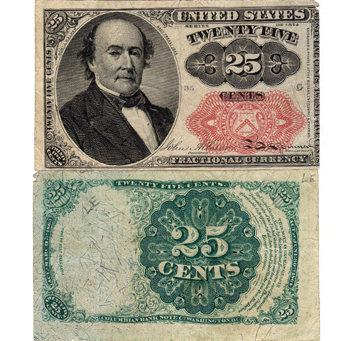(1874-1876) 5th Issue 25¢ Fractional Fr. 1309 (Short Key) - F/VF