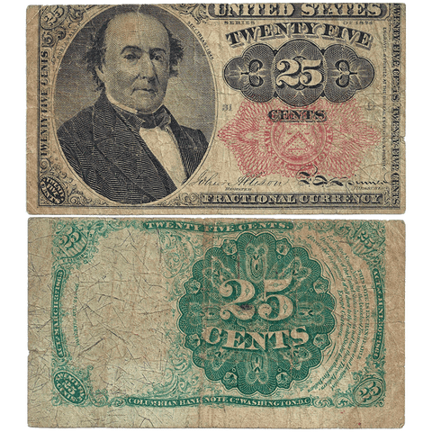 (1874-1876) 5th Issue 25¢ Fractional Fr. 1308 (Long Key) - Fine