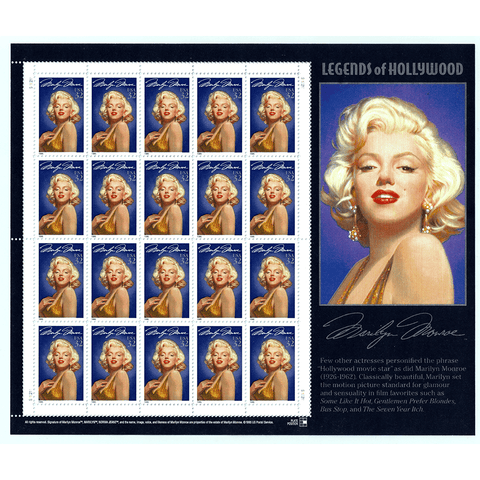 1995 32c Scott #2967 Marilyn Monroe Legends of Hollywood Sheet (20) - MNH