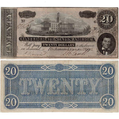 T-67 (Brown) 1864 $20 Confederate States of America Notes Deal - Very Fine