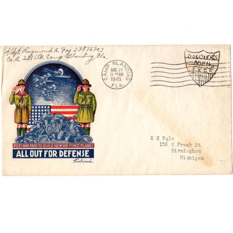 1945 Pots & Pans To Build New Air Force Planes Patriotic Cover - Soldier's Mail Free
