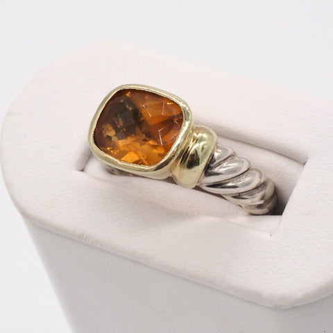 Authentic David Yurman Sterling/14K Citrine Noblesse Ring