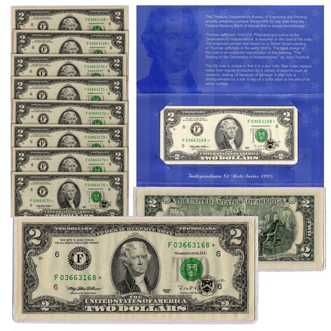 8 Consecutive 1995 $2 Federal Reserve Star Notes Set w/ Blue Independence $2 Folders