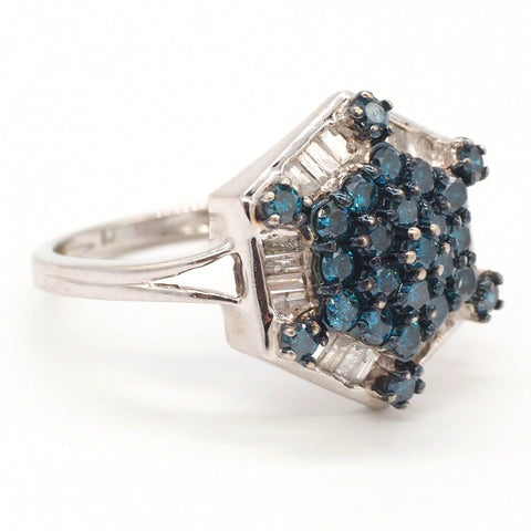 10K Gold Blue & Colorless Diamond Ring