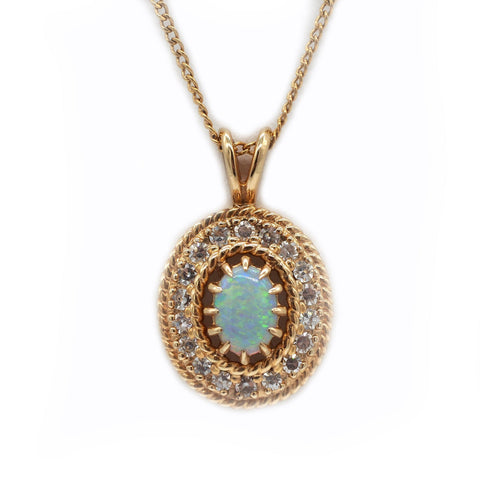 14K Gold Diamond and Opal Necklace w/ 17'' Chain