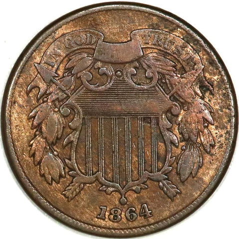 1864 Large Motto Two Cent Piece - VF