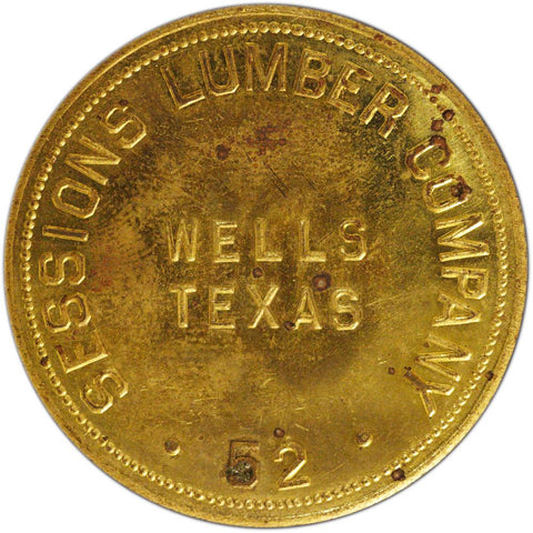 Wells Texas Sessions Lumber Company $5 Trade Token