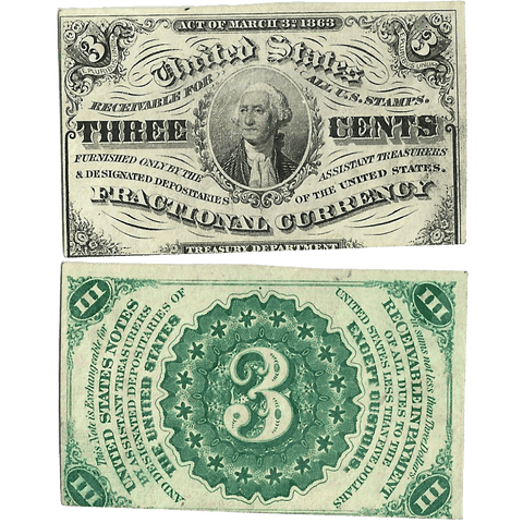 (1864-1869) 3rd Issue 3¢ Fractional Fr. 1226 (Light) ~ Uncirculated