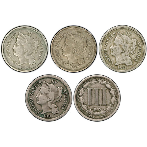 3 Different or 4 Different Three Cent Nickels in Fine or Better Special