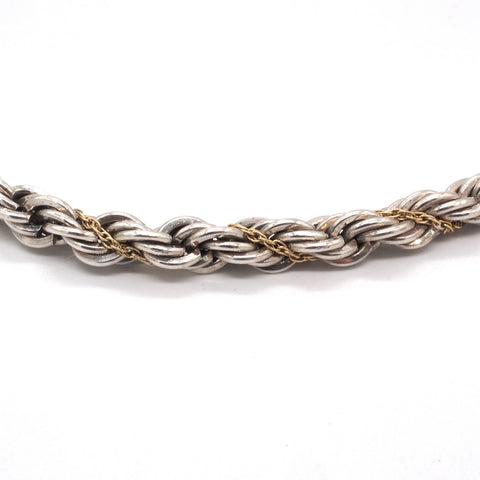 Tiffany & Co. Sterling Silver 18K Yellow Gold Rope Chain