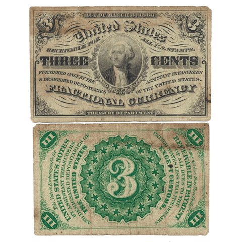 (1864-1869) 3rd Issue 3¢ Fractional Fr. 1226 (Light) ~ Fine
