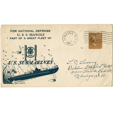 1943 For National Defense U.S.S. Seawolf Patriotic Cover - Scott# 805