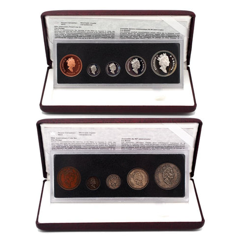 1998 90th Anniversary Royal Canadian Mint Proof Set & Antique Finish Set w/ Display & C.O.A.