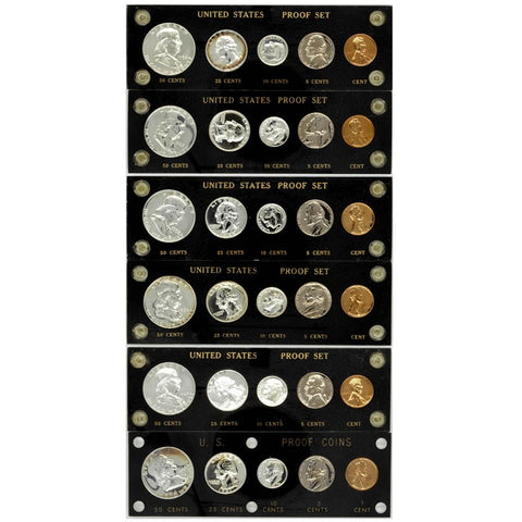 1956-1961 United States Proof Sets in Capital Plastic