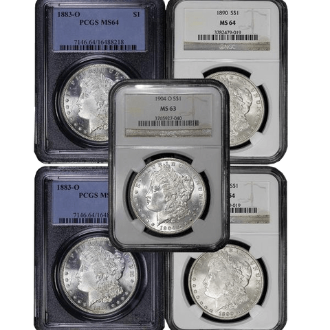 5 Different Certified Morgan Dollars in NGC or PCGS MS 63, MS 64 or MS 65