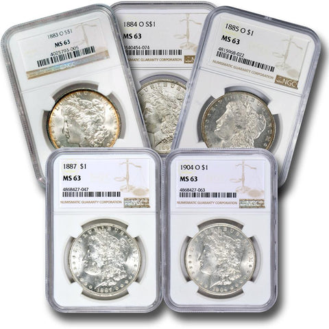 5 Different Pre-1921 Morgan Dollars in NGC MS 63 - Freshly Made