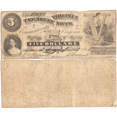 1861 $5 Virginia Treasury Note Cr.5 - Fine - First Issue