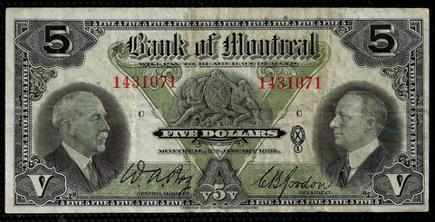 1935 $5 Bank of Montreal Various | Gordon, Charlton 505-60-02 ~ Very Fine