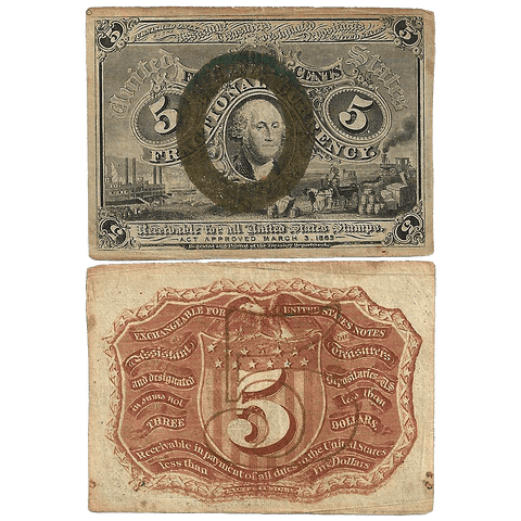 (1863-1867) 2nd Issue 5¢ Fractional Fr. 1233 - Very Fine