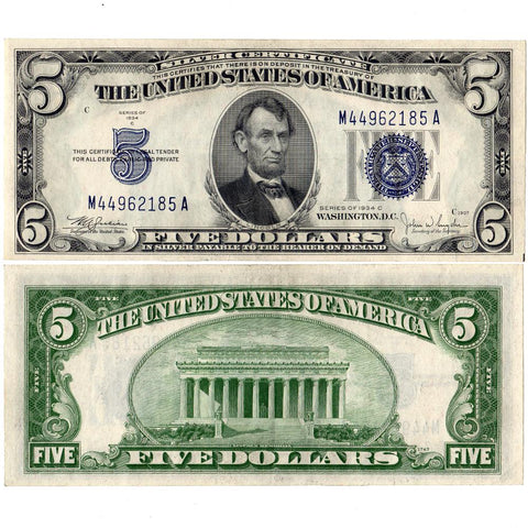 1934-C $5 Silver Certificate Fr. 1653 - About Uncirculated