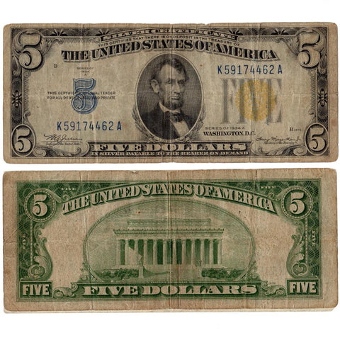 "1934-A $5 North Africa ""Yellow Seal"" Silver Certificate Fr. 2307 - Very Good"