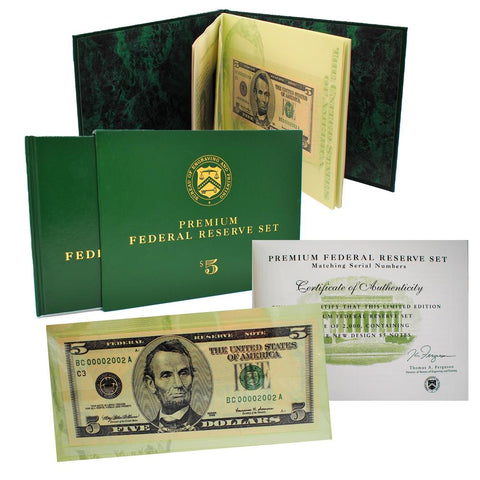 12-Note 1999 $5 Matching Serial Number Premium Federal Reserve Set