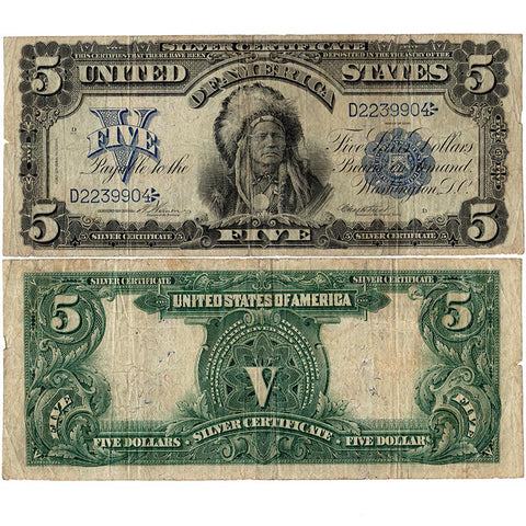 1899 $5 Oncpapa Indian Chief Silver Certificate Fr.280 - Very Good