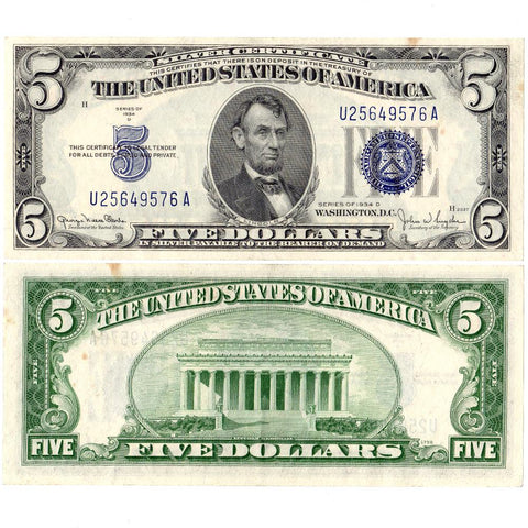 1934-D $5 Silver Certificate Fr. 1654 - About Uncirculated