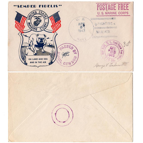 "1943 United States Marine Corps ""Bulldog"" Patriotic Cover - Marine Corps. Postage Free"