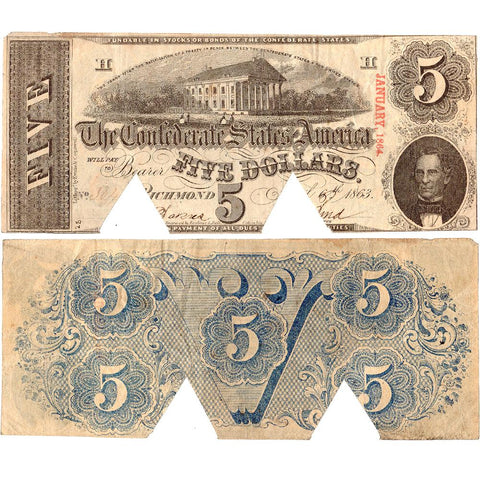 T-60 April 6th 1863 $5 Confederate States of America Note - Cut-out Cancelled