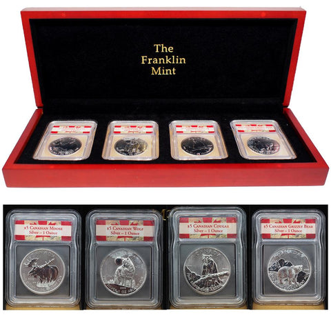 2011/12 $5 Canadian 1 oz Silver Coin Set - w/ Deluxe Franklin Mint Display Case