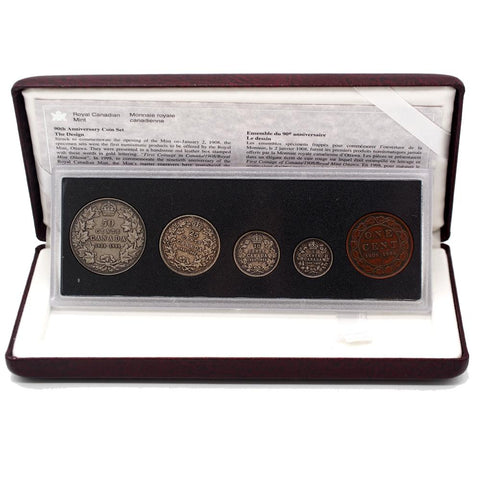 1998 90th Anniversary Royal Canadian Mint Antique Finish Set w/ Holder & COA