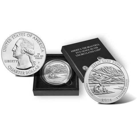 2014-P America The Beautiful Five Ounce Silver Colorado Great Sand Dunes Uncirculated Coin w/ Box & C.O.A.