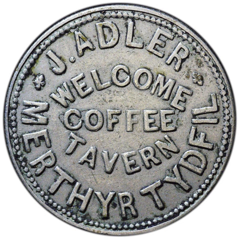 J. Adler Welcome Coffee Tavern Merthyr Tydfil Token