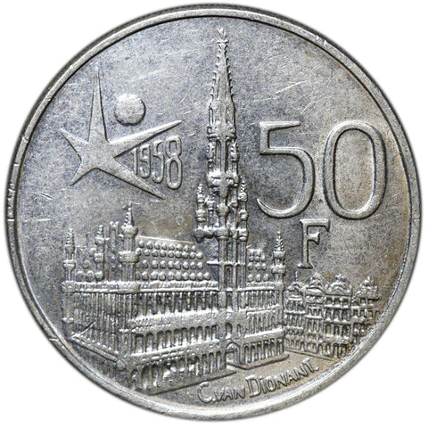 1958 Belgium Silver 50 Francs KM.150.1 - About Uncirculated