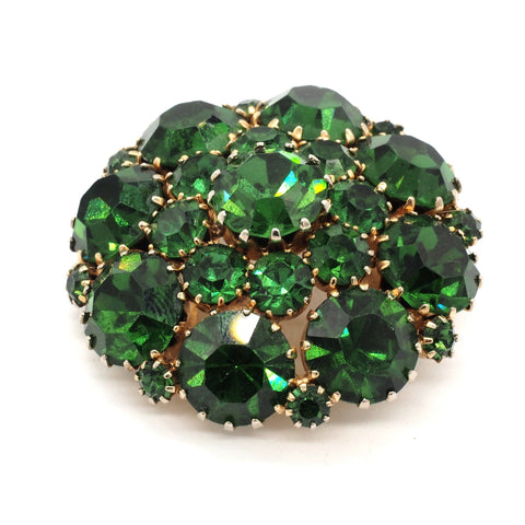 Vintage Signed Weiss Open Back Green Rhinestone Brooch/Pin