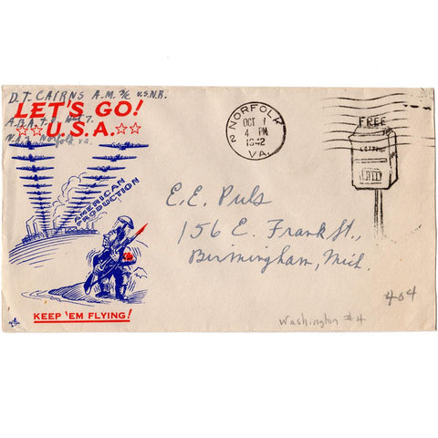 "1942 ""Let's Go U.S.A. Keep 'Em Flying"" Patriotic Cover - Free Mail"