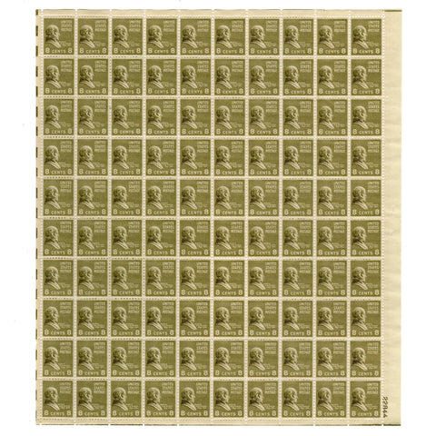 1938 8 Cent  Scott# 813 Martin Van Buren Stamp Sheet