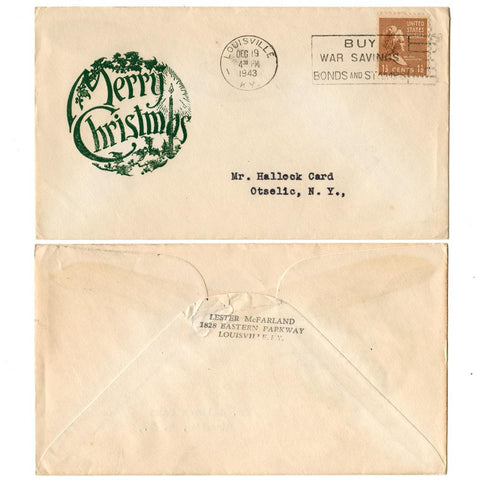 1943 Merry Christmas Patriotic Cover Scott# 805