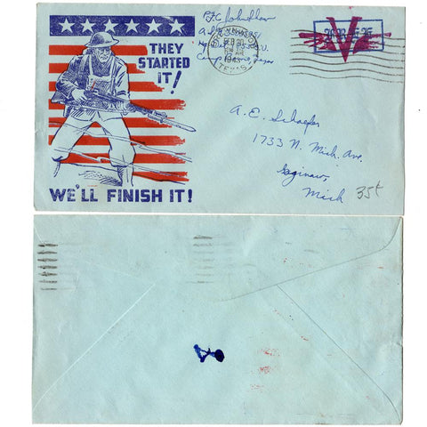 "1943 ""They Started It ! We'll Finish It"" Patriotic Cover - Free Mail"