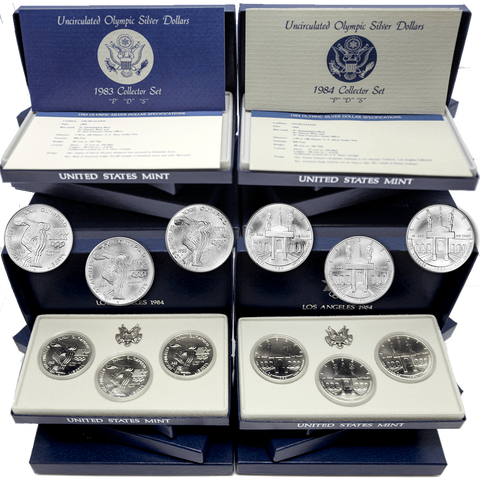 1983 & 1984 P-D-S  Uncirculated Olympic Silver Dollar 3-Coin Collector Sets