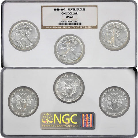 1989-1991 Silver Eagle Set - NGC MS69