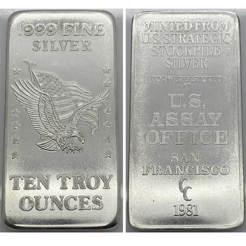 1981 U.S. Assay Office San Francisco 10 oz .999 Silver Bar