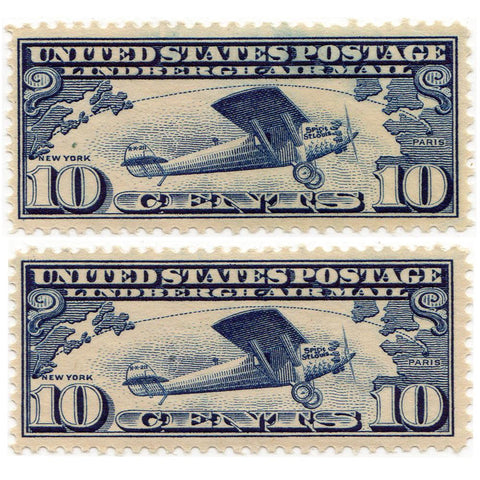 Pair of U.S. 10 Cent Airmail Stamps #C10 - Lightly Hinged
